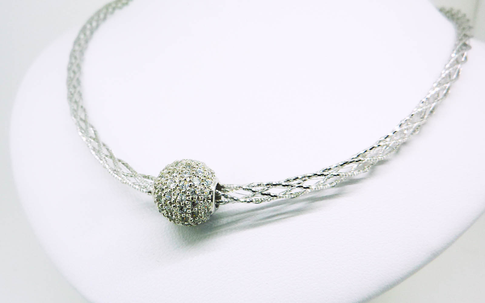 Collier Boule Or Blanc 18 Carats