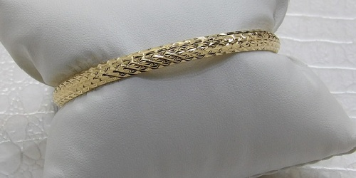 Bracelet Rigide Massif Or 18 Carats Diamanté