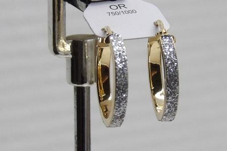 Boucles D'oreilles Créole Bicolor Or 18 Carats