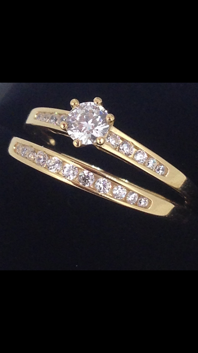 Solitaire & alliance or 18 carats oxydes