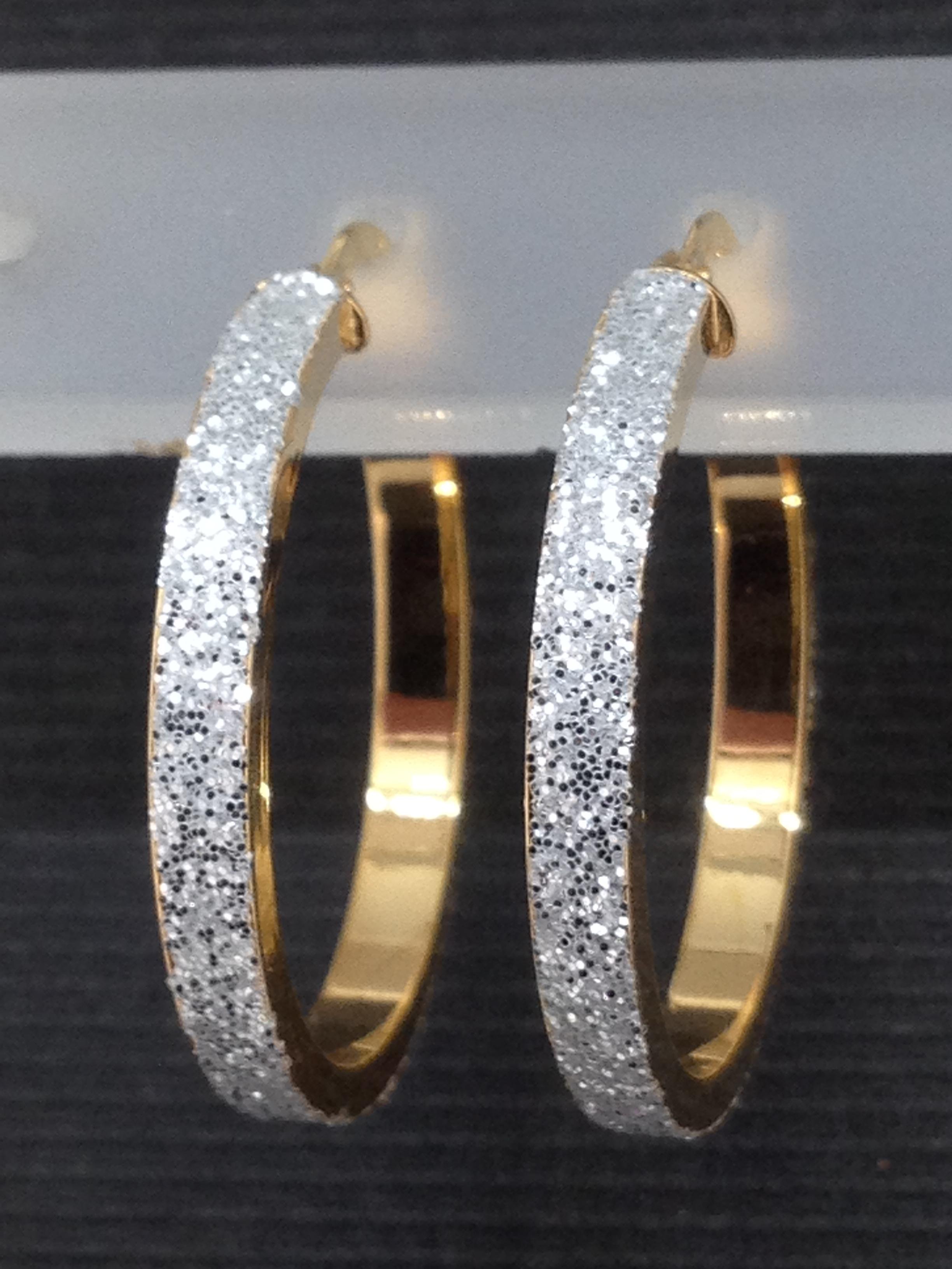 Boucles d'oreilles creole bicolor or 18 carats
