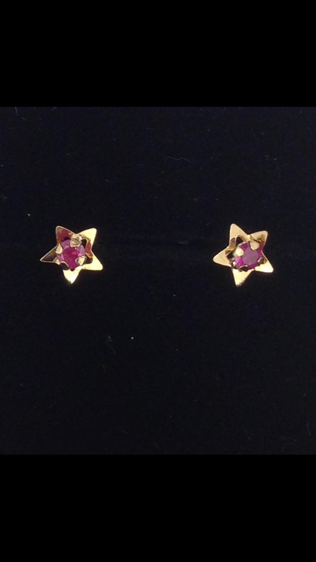 Boucles d'oreilles puce rubis or 18 carats