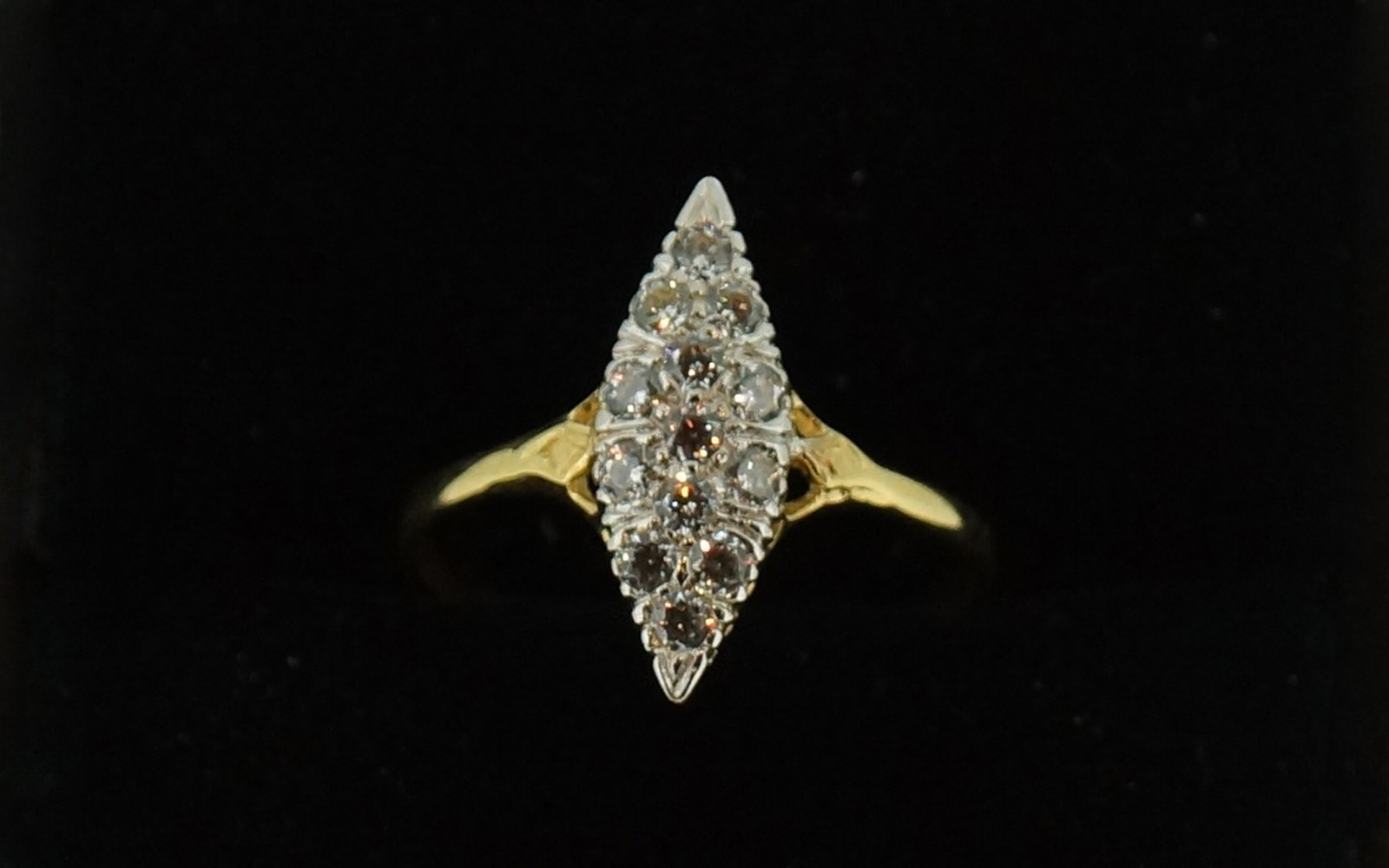 Bague oxyde marquise bicolore