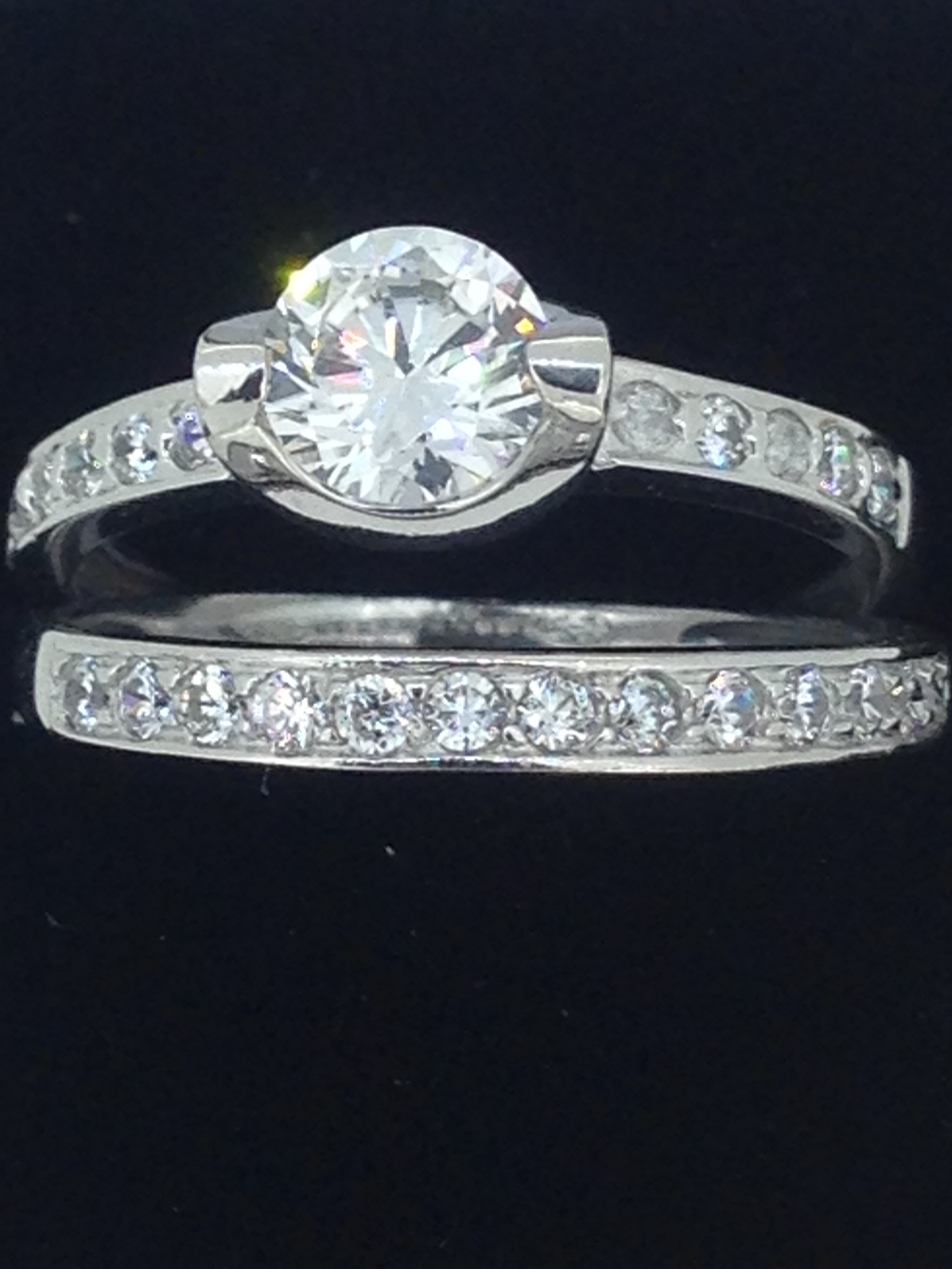 Duo solitaire & alliance or blanc 18 carats