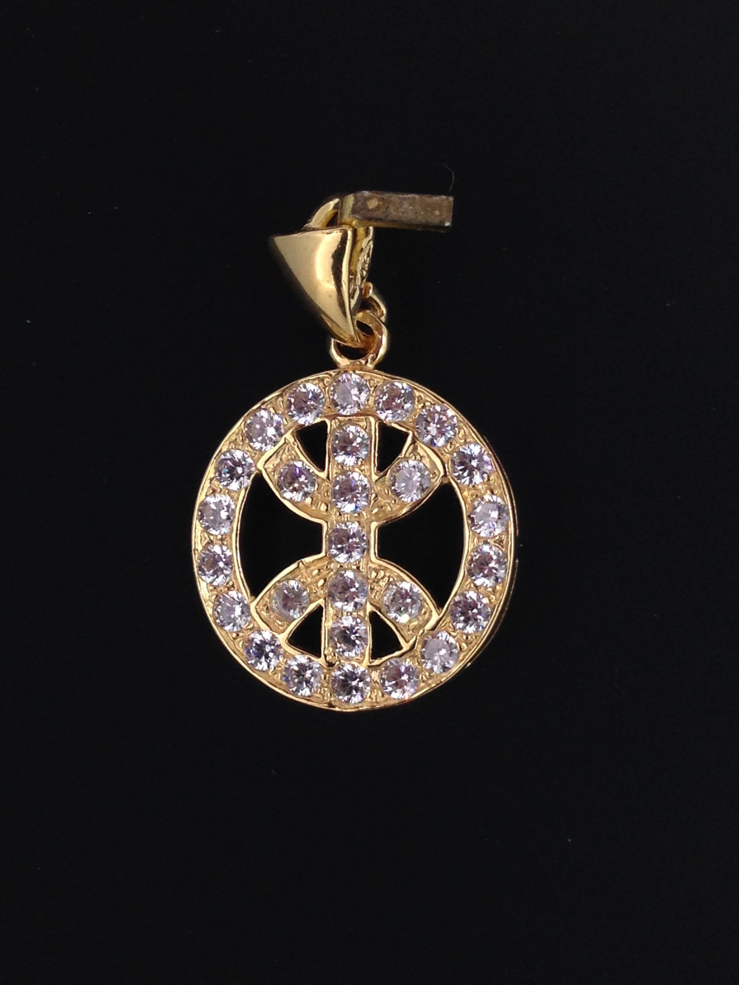 Pendentif Oriental Or 18 Carats Oxydes