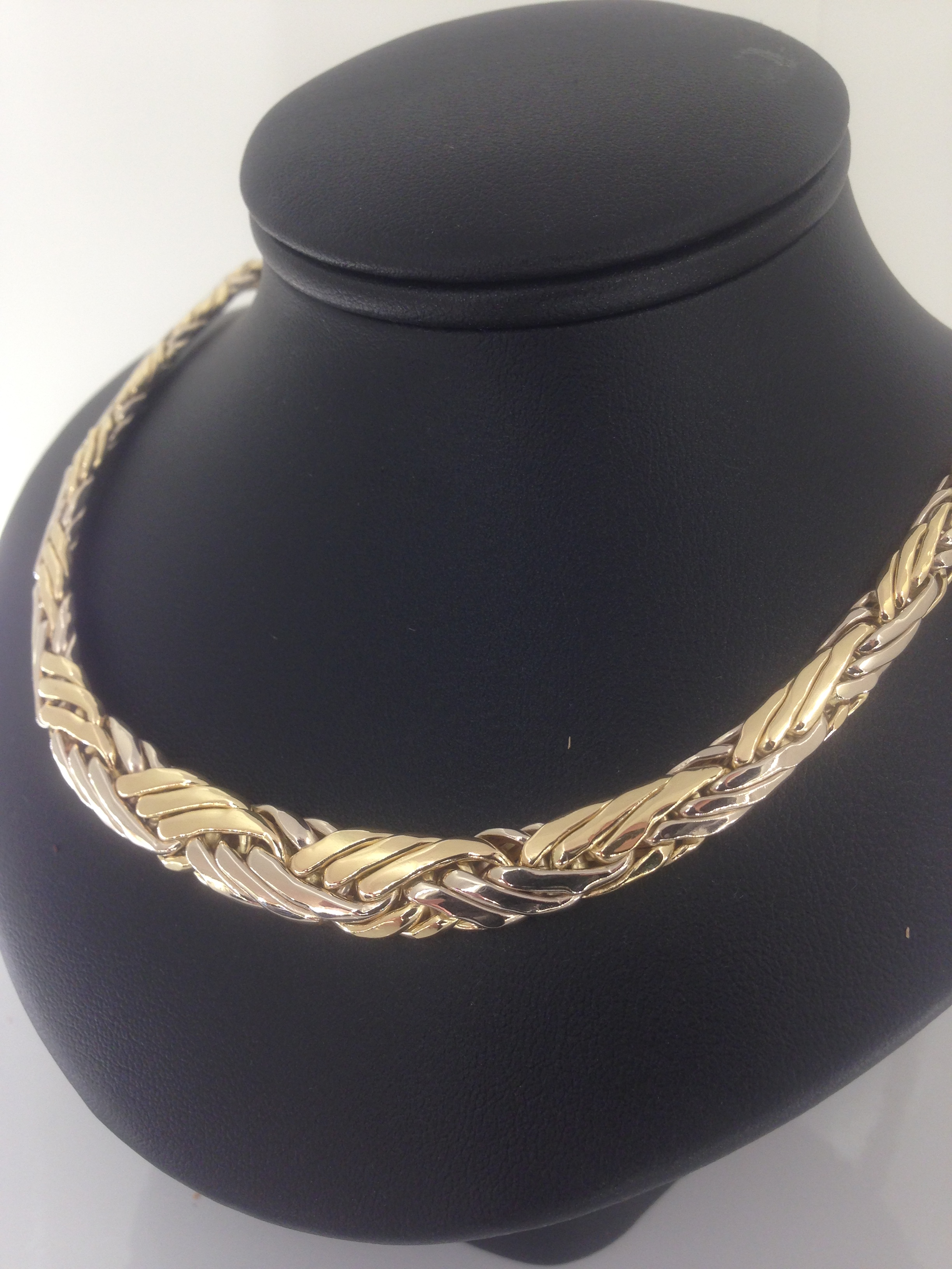 collier or 18 carats maille palmier frappée