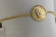 Bracelet Or 18 Carats Personnalisé Porte Pièce 20 Francs