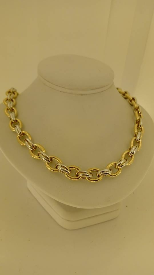 Collier Maille Jaseron Or 18 Carats Bi Color