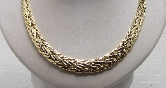 Collier Or 18 Carats Maille Plate