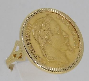Bague-or-18-carats-porte-pièce-Napoléon-20-francs-bijouterie-jouvenel