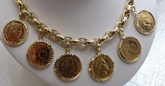 Collier Porte Pièces Napoléon 10 Francs Or 18 Carats